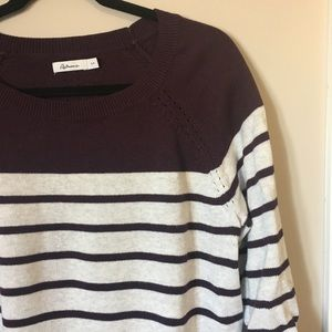 3/4 sleeve purple & grey striped sweater